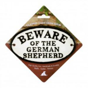 BEWARE GERMAN SHEP CAST IRON OVAL
