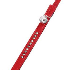 CAT COLLAR LEATHER RED WITH STONES