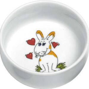 RABBIT FEED BOWL B&W 11CM 300ML